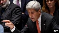 John Kerry gjatë fjalimit të tij të sotëm në Këshillin e Sigurimit të Kombeve të Bashkuara