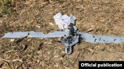 Nagorno Karabakh -- An official photograph that purportedly shows the wreckage of an Azerbaijani military drone shot dow by the Karabakh Armenian army, September 25, 2019.