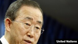 The UN secretary-general speaks to journalists at UN headquarters in New York