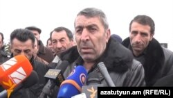 Armenia - Samvel Hovannisian, a relative of the murdered Avetisian family, speaks to journalists in Gyumri, 16Jan2015.