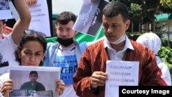 Türkmen aktiwistleri Stambulda protest geçirýärler. 18-nji iýul, 2021 ý.