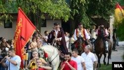 Архивска фотографија- коњаниците од 40-иот Илинденски коњички марш 2018 тргнаа кон Мечкин Камен