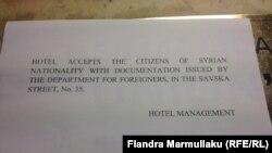 Refugjatët duhet të kenë dokumentin nga Zyra për të Huaj në Beograd, për të qëndruar në hotel.