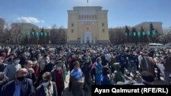 """Алматыдағы """"Қытай экспансиясына"""" қарсы наразылық митингі. 27 наурыз, 2021 жыл."""