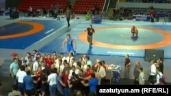 Armenia -- A Screenshot from the episode in Tbilisi which caused disqualification of Armenia wrestler Artur Aleksanian. June, 2017