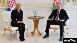 İlham Əliyevin Xorvatiya prezidenti Kolinda Qrabar-Kitaroviç ilə görüşü