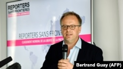 Reporters Without Borders (RSF) general secretary Christophe Deloire speaks during a press conference to present the watchdog's World Press Freedom Index for 2018, in Paris. File photo