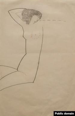 """Обнаженная"" (Анна Ахматова), рисунок Амедео Модильяни, 1911 г."