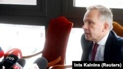 Голова центрального банку Латвії Ілмар Римшевич на прес-конференції у Ризі, 20 лютого 2018 року