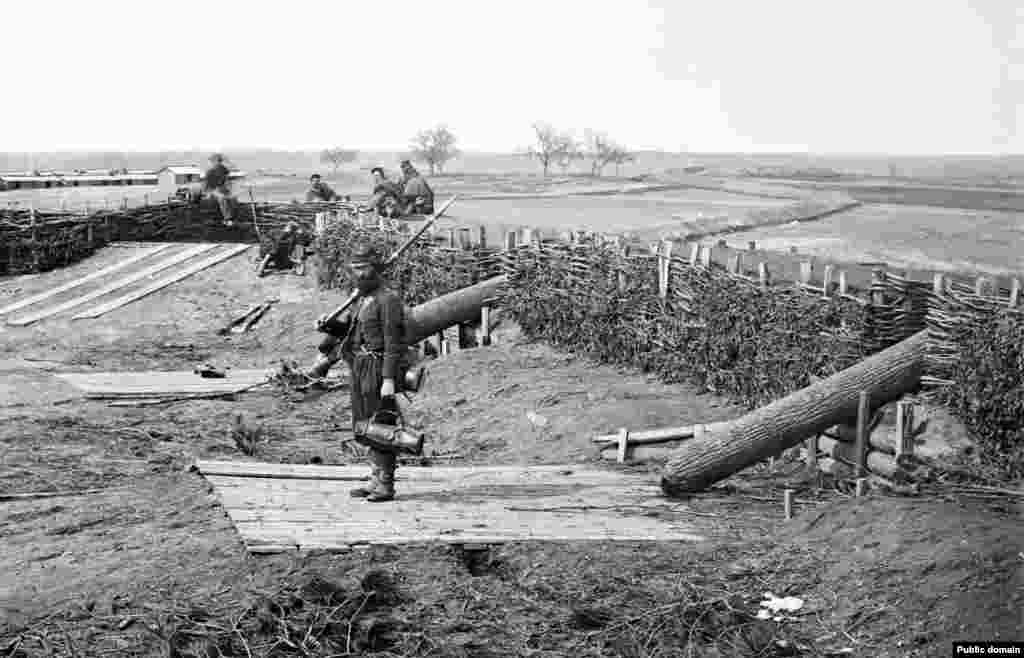 "Military deception is probably as old as war itself, but the earliest photos of dummy weapons date from the 1861-65 American Civil War, when ""Quaker guns"" (pictured) were used by both sides. The ""guns"" were in fact logs, mounted to give distant, telescope-squinting generals a false impression of firepower."