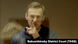 Russian opposition leader Aleksei Navalny in court in Moscow on February 16