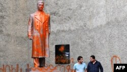 Telavi's Stalin monument has been vandalized several times since it was first unveiled on September 1.