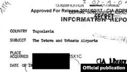 Извадок од документите на ЦИА кои беа декласифицирани, a во кои се спомнува Тетово.