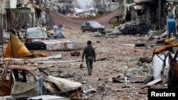"""Январь айында """"Ислам мамлекети"""" радикал тобунан бошотулган Сириянын Кобани шаары. 30-январь, 2015-жыл"""