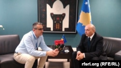 Kosovar Prime Minister Isa Mustafa speaks with RFE/RL on March 21 in Pristina.