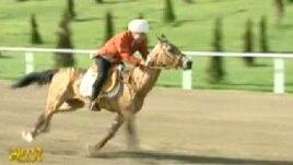 A screen grab of Berdymukhammedov during the race in Ashgabat on April 28.