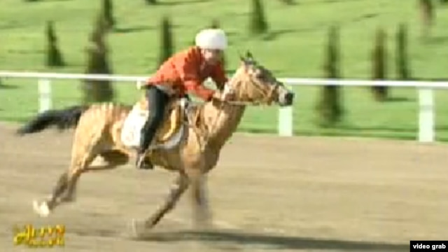 A screen grab of Berdymukhammedov during the race in Ashgabat on April 28.