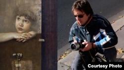 """Наградената слика """"Донесен со ветерот"""" и авторот, сликарот Константин Качев."""