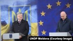 Петро Порошенко і прем'єр-міністр Молдови Павел Філіп під час відкриття пункту перетину українсько-молдовського кордону, 28 грудня 2018 року