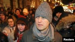 Российский оппозиционный политик Алексей Навальный на акции в его поддержку. Москва, 30 декабря 2014 года.