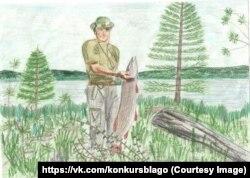 Путін з щукою. Малюнок 12-річної Анастасії Кравцової