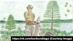 Путин с щукой. Рисунок 12-летней Анастасии Кравцовой