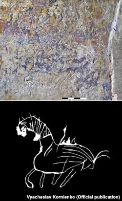 Зображення «озброєного» коня (фото і промальовка графіті 2318)