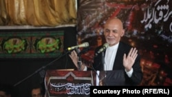 Afghan Presiden Ashraf Ghani delivering a speech during an Ashura ceremony in Kabul on August 30.
