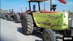Farmers in Iran's Isfahan Province protest against the transfer of water from the Zayandehrood River to Yazd Province.