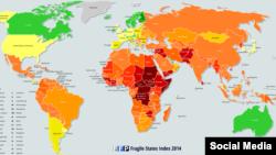 نقشه شاخص آسیبپذیری کشورها در سال ۲۰۱۴
