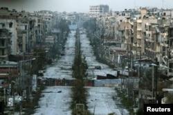 نمایی هوایی از باقیماندههای حلب؛ منطقه سیفالدوله