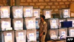 Sealed ballot boxes at a warehouse in the Iraqi city of Ramadi on February 1