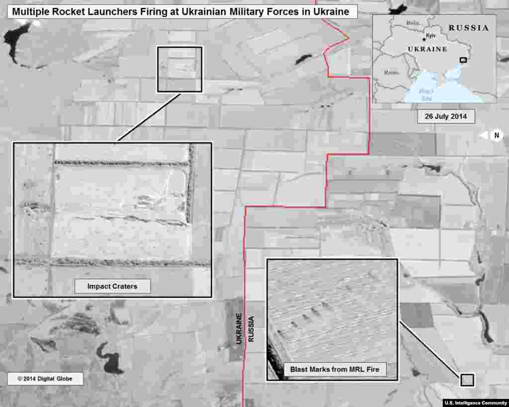 Multiple Rocket Launcher Strikes Within Ukraine - July 25-26. From the U.S. Director of National Intelligence: This slide shows ground scarring at a multiple rocket launch site on the Russian side of the border oriented in the direction of Ukrainian military units within Ukraine. The wide area of impacts near the Ukrainian military units indicates fire from multiple rocket launchers.