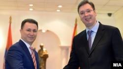 Премиерот Никола Груевски е домаќин на неговиот српски колега, Александар Вучиќ, во Скопје.