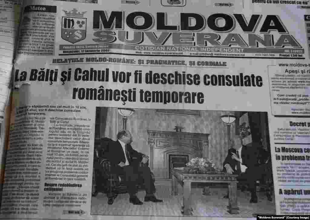 """""""Moldova Suverană"""", 17 ianuarie 2007, vizita preşedintelui român Traian Băsescu la Chişinău, la care s-a convenit deschiderea a două consulate noi, la Bălţi şi Cahul"""