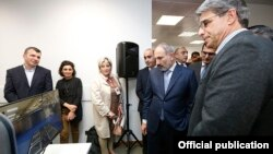 Armenia -- Prime Minister Nikol Pashinian attends the inauguration of the Armenian subsidiary of the U.S. technology company Xilinx, Yerevan, October 28, 2019.