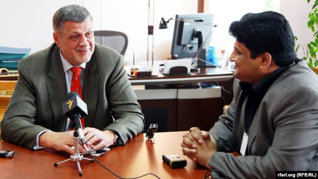Afghanistan -- Jan Kubis, the UN Secretary-General's Special Representative for Afghanistan during an exclusive interview with RFE/RL Kabul Bureau Chief Hamid Mohmand on April 25, 2013.