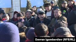 Protesters rally against Chinese migrants in central Bishkek on January 7.