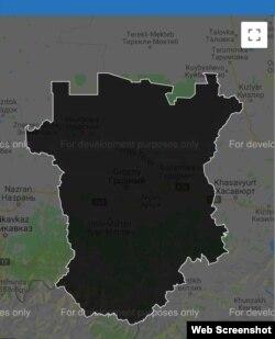 Чечня обозначена серым цветом