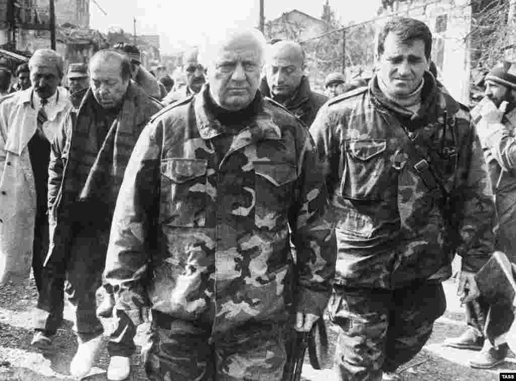 President Eduard Shevardnadze tours the combat zone during the 1993 Georgian-Abkhaz war.