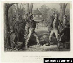 Вождь племени тауни Текумсе отказывается подписать мирный договор и объявляет губернатору территории Индиана, будущему президенту США Уильяму Генри Гаррисону, что отныне он воюет на стороне англичан. Август 1810