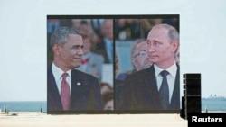 Смонтированные вместе фотографии Барака Обамы и Владимира Путина в Нормандии