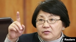 Roza Otunbaeva, the interim government leader, speaks during a news conference on April 8 in Bishkek.