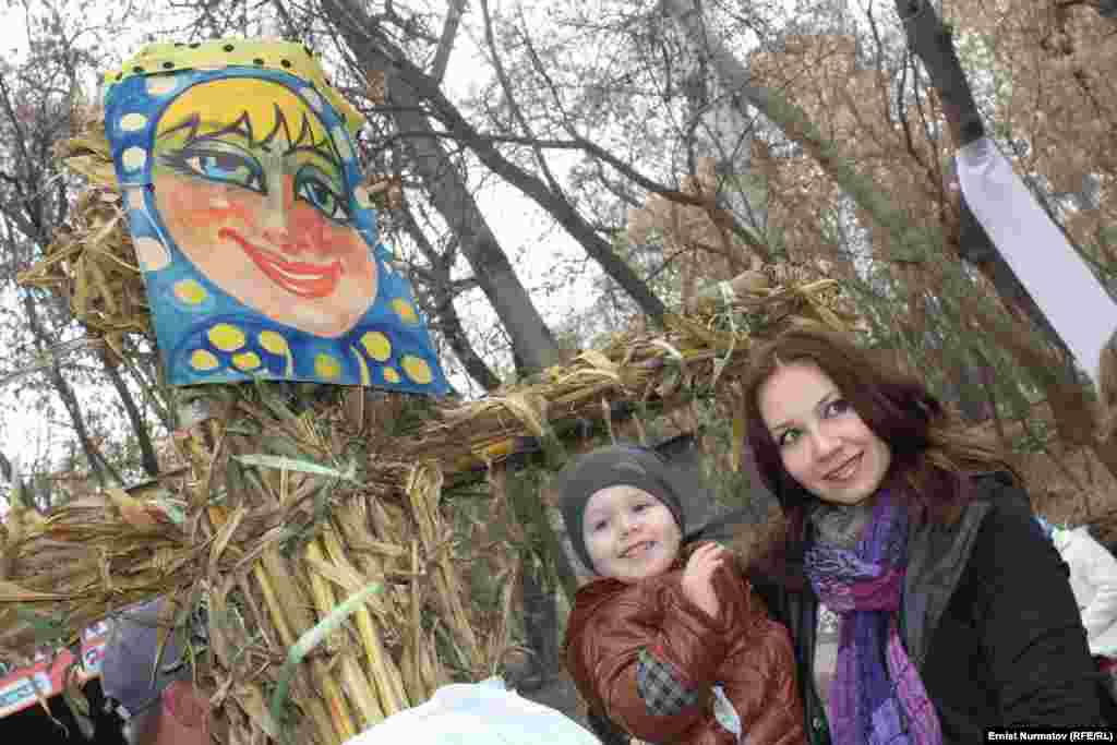 A scarecrow represents Lady Maslenitsa, the spirit of the festival.