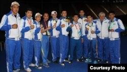 Казахстанские боксеры на Исламских играх солидарности в Баку.