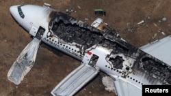 Апатқа ұшыраған Boeing 777. Сан-Франциско. 6 шілде, 2013 жыл.