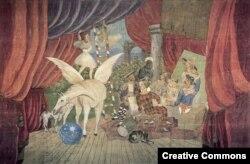 """Занавес балета """"Парад"""", выполненный Пикассо для труппы Дягилева"""