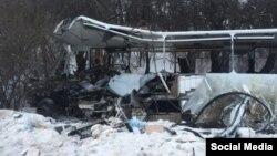 უკრაინაში აფეთქებული სამგზავრო ავტობუსი