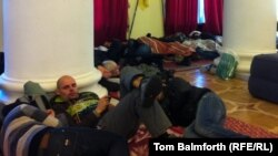 Activists sleeping in the assembly hall of the City Council building.