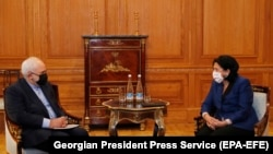 Встреча президента Грузии Саломе Зурабишвили и министра иностранных дел Исламской республики Иран Мохаммада Джавада Зарифа
